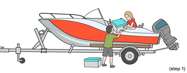 step 1 Launching a boat