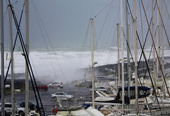 tsunami and boats
